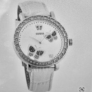 GUESS RHINESTONE BUTTERFLY LEATHER WATCH
